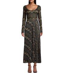 m missoni women's geometric knit long-sleeve maxi dress - black - size xs