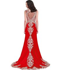 gold lace embroidery beaded mermaid long sheer formal prom evening dresses red u