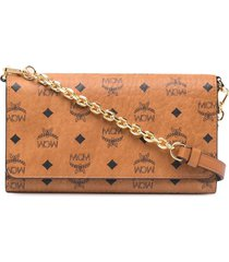 mcm faux leather wallet on chain - brown