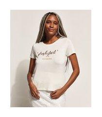 "blusa feminina fresh start"" metalizada manga curta decote redondo off white"""