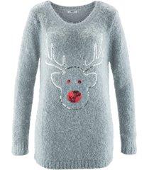 maglione natalizio con renna di paillettes (argento) - bpc bonprix collection