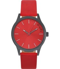 simplify quartz the 2400 black case, genuine red leather watch 42mm