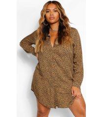 plus luipaardprint blouse jurk, geelbruin
