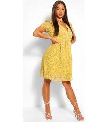 bloemenprint skater jurk met knopen, geel