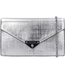 michael kors clutch in silver leather