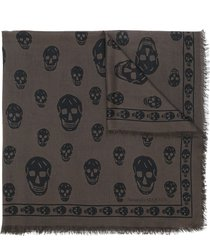 alexander mcqueen skull-embroidered fringe-edge scarf - brown