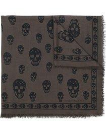 alexander mcqueen skull-embroidered fringe-edge scarf - brown