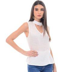 blusa para mujer en chalis blanco color blanco talla l