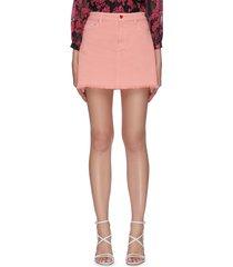 'cny stace face' heart button denim mini skirt