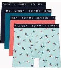tommy hilfiger men's cotton stretch boxer brief 4pk dark denim/dragonfly/parrot print on blue light/sunkist coral - xxl
