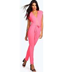 petite wrap over jumpsuit, pink