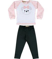 conjunto de blusinha com legging douvelin rosa - branco - menina - poliã©ster - dafiti