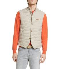 men's eleventy packable quilted vest, size xxx-large - beige