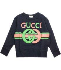 gucci blue felted cotton sweatshirt