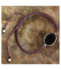 smoky quartz pendant bracelet, 'solitaire' (india)
