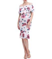 kimi and kai kyla floral mermaid hem maternity/nursing dress, size large in pink at nordstrom