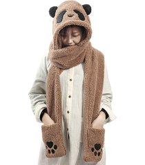 sciarpa tascabile da donna inverno caldo convertibile cappello avvolgente guanti set one pezzo di sciarpe guanti