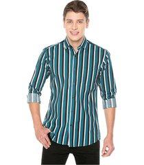 camisa manga larga masculina rayas verde, negro y blanco spandex los caballeros