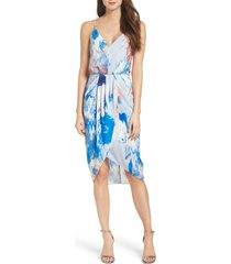 women's chelsea28 print faux wrap dress, size 0 - blue