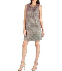 24seven comfort apparel sleeveless shift dress with geometric print detail