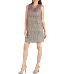 24seven comfort apparel sleeveless shift dress with geometric print detail