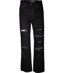 cropped straight music note patch jeans