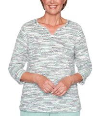 alfred dunner petite lake geneva textured space-dyed knit top