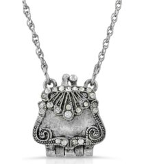 2028 silver-tone with crystal accents purse locket necklace