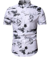 palm tree dolphin print beach shirt
