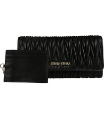 miu miu logo plaque continental wallet