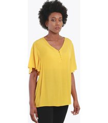 blusa con botones amarillo night concept