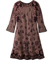 jacquard-gebreide jurk uit bio-merinowol in a-lijn met opvallend patroon, bruin-motief 42