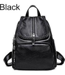 mochilas/ tejido de cuero de la pu mochila mujeres-negro