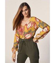 blusa estampa floral damasco estampado - feminina - feminino