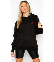 geborduurde oversized hoodie met rozen zak, zwart