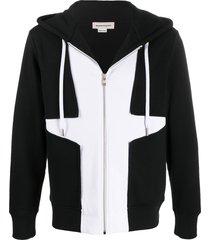 alexander mcqueen panelled two-tone hoodie - black