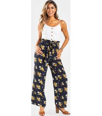 kenya button front printed jumpsuit - navy