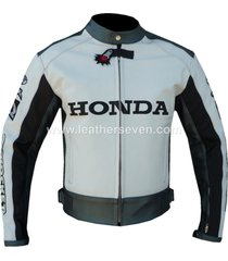 men mens honda white cowhide leather motorcycle motorbike biker armour jacket