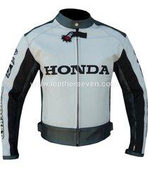 men mens honda white cowhide leather motorcycle motorbike biker armour jacket