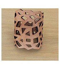 leather wristband bracelet, 'brazilian geometry in caramel' (brazil)