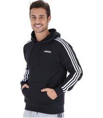 blusão de moletom com capuz adidas 3s pullover french - masculino - preto