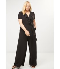 lane bryant women's ruffle-front wide-leg jumpsuit 22 black