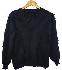 sweater negro minari flecos