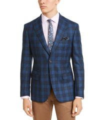 tallia men's slim-fit blue/cream plaid sport coat