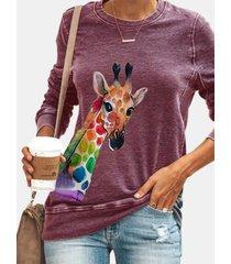 camicetta casual a maniche lunghe con stampa giraffa multicolore per donna