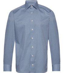 beige medallions print shirt overhemd business blauw eton