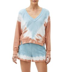 michael stars camila v-neck crop sweatshirt, size large in earth combo at nordstrom