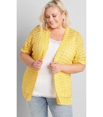 lane bryant women's open-front open-stitch cardigan 26/28 dusky citron