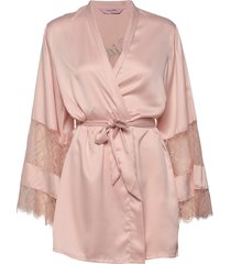 kimono satin insert lace brides crew morgonrock rosa hunkemöller