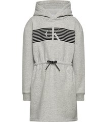 striped ck hood dress jurk grijs calvin klein